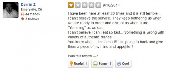 Bad restaurant customer service review